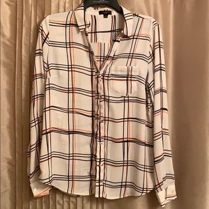 White plaid button-up long sleeve shirt - Limited